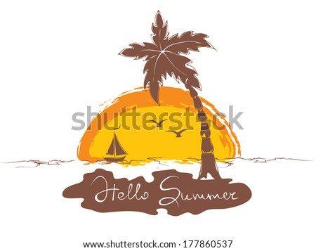 Sunset on the beach with boat - stock vector