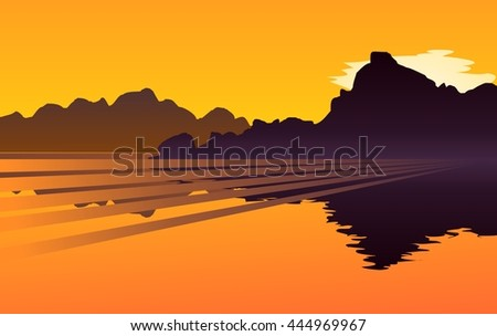 Sunset over a mountain lake, with a little bit of cloud - stock vector