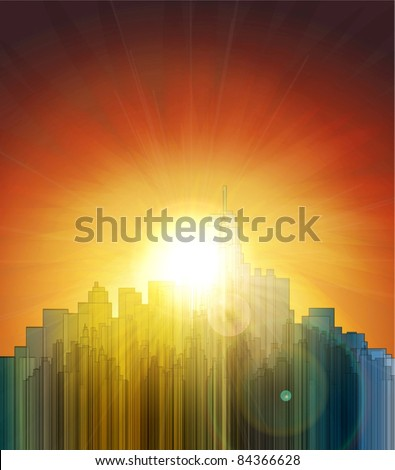 Sunset over the big city. Abstract background. Design a poster. - stock vector