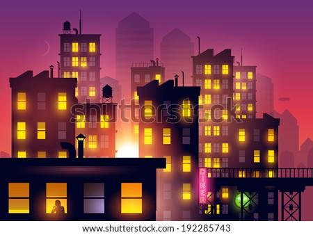 Sunset Over The City. Lights from city apartments add to the summer dusk city glow. Vector illustration. - stock vector