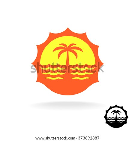 Sunset, sea waves and palm silhouette tropical island travel logo - stock vector