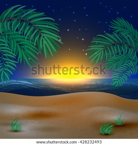 Sunset view in beach - stock vector