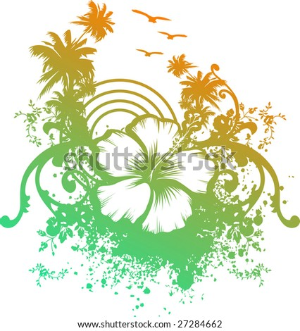 sunset whit hibiscus and palms - stock vector