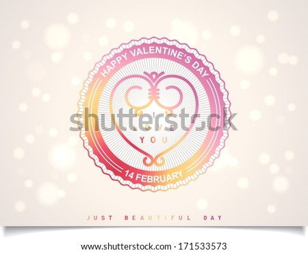 Sunshine joyful badge with beautiful heart and inscription for Valentine's Day on detailed heraldry background.  Vector icon eps10 - stock vector