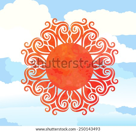 sunshine over clouds - stock vector