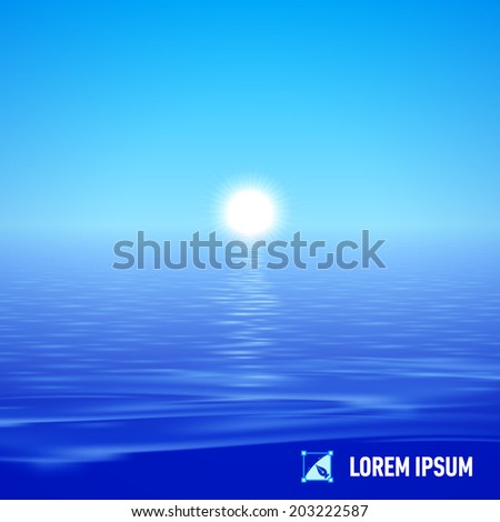 Sunshine over deep blue water surface, split view - stock vector