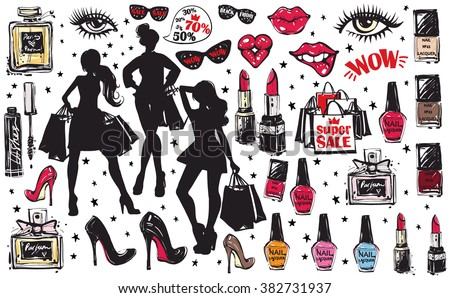 Super big vector glamour fashion sketch set in vogue style. Hand drawn graphic makeup, nail polish, lipstick model and accessories, sale bag shopping, cosmetics. Isolated elements on white background - stock vector