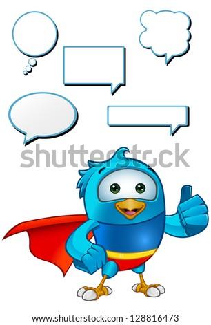 Super Blue Bird - Giving A Thumbs Up - stock vector