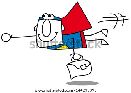 Super Business Man fly - stock vector