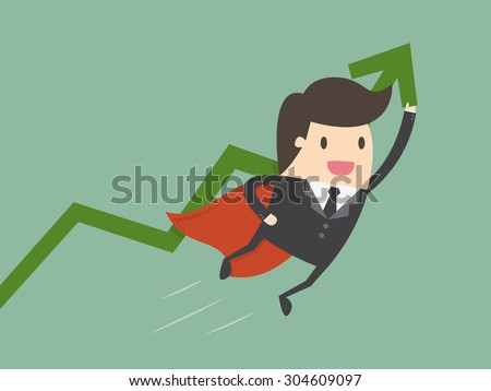 Super businessman with growing graph. Business concept cartoon illustration.  - stock vector