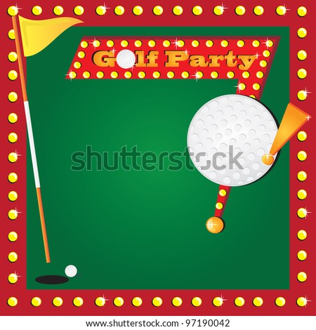 Super fun golf or miniature golf party invitation with glowing lights and a retro golf party sign with a huge detailed golf ball for your party info. Cute flag for the age of your child. - stock vector