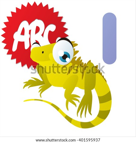 Super funny extra cute animal kids ABC series. Collectible collection for children games. Letter I  is for Iguana - stock vector
