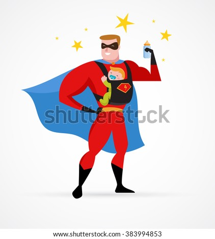 Super hero daddy in superhero costume with carrier and baby - stock vector
