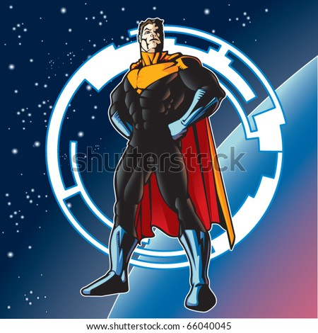 Super hero with cape above a planet. - stock vector