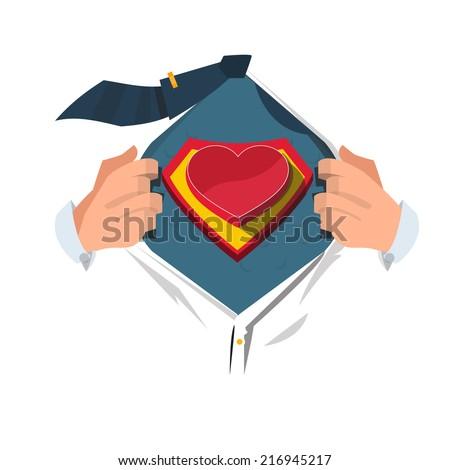 super hero with heart - vector illustration - stock vector