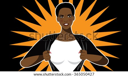 Super hero woman tears open her shirt to reveal the super insignia or message in copy space. EPS 10 vector. - stock vector