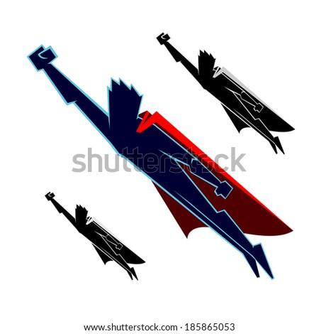 Super Heroes Flying - stock vector