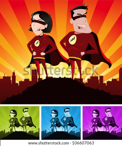 Super Heroes Male And Female/ Illustration of a cartoon super hero man and woman standing proudly with the cityscape over the sunlight beams - stock vector
