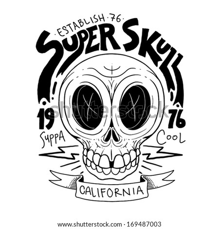 Super Human Skull vector  Black&White - stock vector