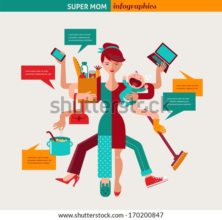 Super Mom - mother with baby, working, coocking, cleaning and make a shopping - stock vector