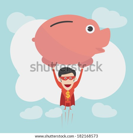 Super money man for business and finance concept - stock vector