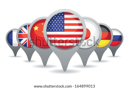 super powers flags - stock vector