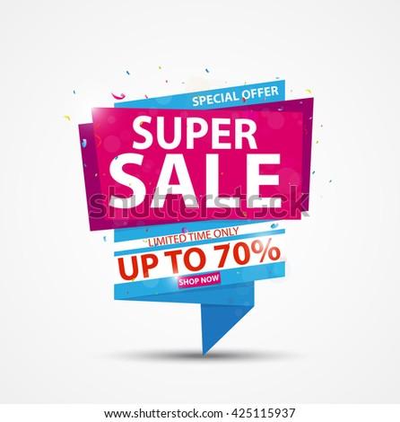 Super Sale Banner and Best Offer design  - stock vector