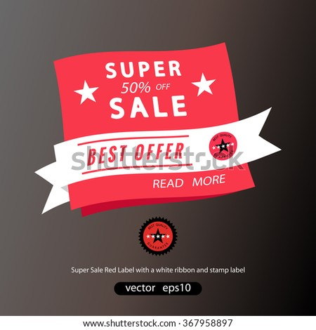 super sale banner, best offer, white ribbon with stamp label - stock vector