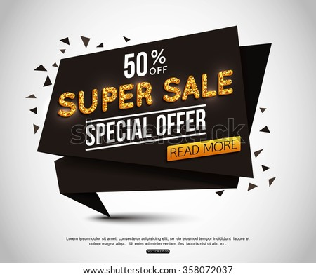 Super Sale Banner with Gold Text. Sale Background for your  promotional brochure or booklet, posters, advertising shopping flyers, discount banners 50% off. - stock vector
