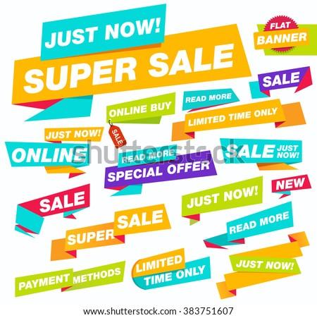 Super sale flat banner. Sale and discounts. Flat sale banners. Super sale. New online offer. Set of Website Banner.  - stock vector
