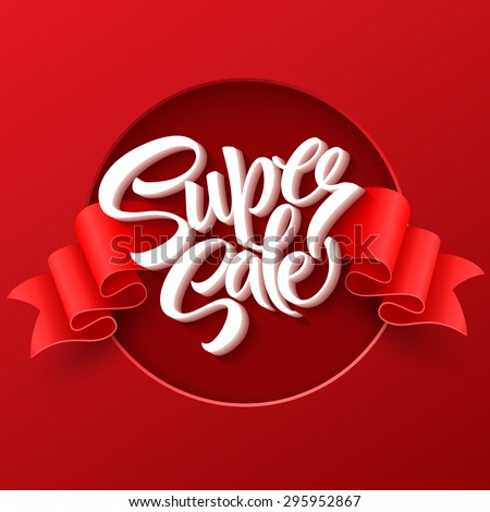 Super Sale lettering with sale labels. EPS 10 - stock vector