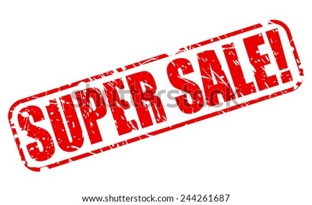 Super sale red stamp text on white - stock vector