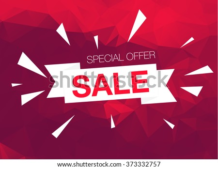Super Sale Special Offer banner on red background - stock vector
