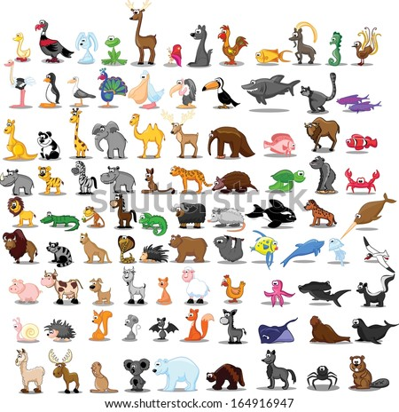 Super set of cute cartoon animals  - stock vector
