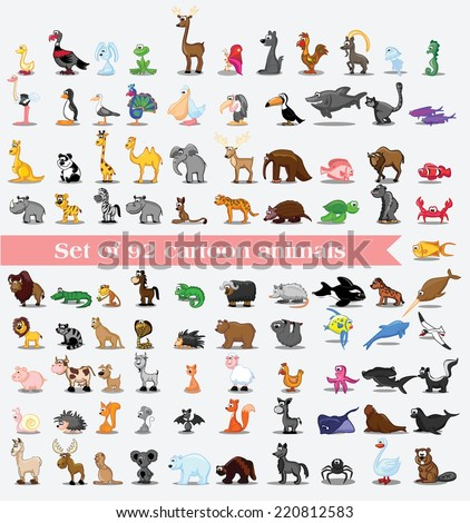 Super set of 92 cute cartoon animals  - stock vector