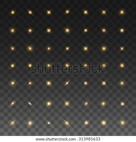 Super set of glowing lights and stars. Isolated on black transparent background. Vector illustration, eps 10. - stock vector