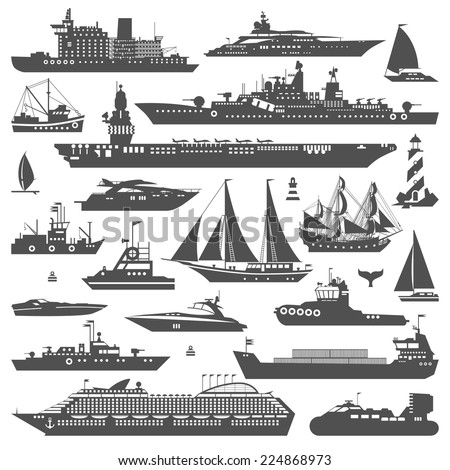 Super set of water carriage and maritime transport in modern flat design style. Ship, boat, vessel, warship, cargo ship, cruise ship, yacht, wherry, hovercraft. Logo icons isolated on white background - stock vector