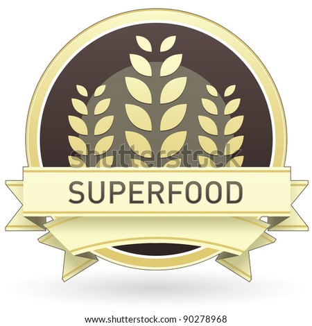 Superfood food label, badge or seal with brown and tan color and wheat or grain emblem in vector style - stock vector