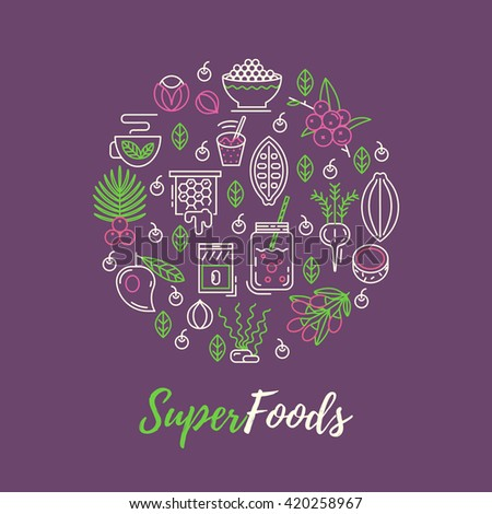 Superfoods line vector concept. Acai, cocoa, goji, guarana, spirulina, coconut, quinoa, camu camu. Organic superfoods for health and diet. Detox and weightloss supplements. - stock vector