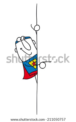 Superhero and his board. Joe, the superhero points the finger the placard. This illustration is ideal for your advertising. - stock vector