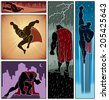 Superhero Banners 3: Set of 5 superhero banners. No transparency and gradients used.  - stock vector