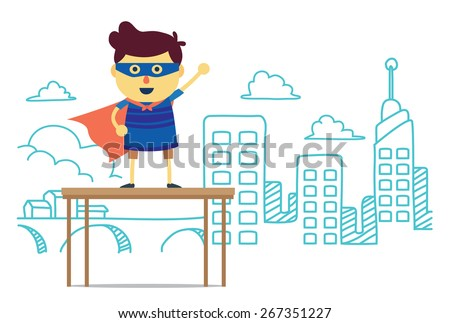 Superhero boy post front city of imagine background. concept cartoon about power, imagine, fun, learning and progress of kid - stock vector