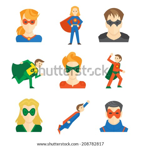 Superhero boys and girls avatars in masks and disguise flat set isolated vector illustration - stock vector