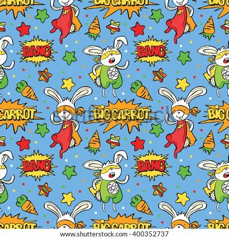 Superhero. Bunny. Carrot. Asterisk. Dialog cloud Bang! Seamless background. Funny little power superhero bunny in raincoat. Superhero concept. Children's pattern. Cute bunny - superhero. - stock vector