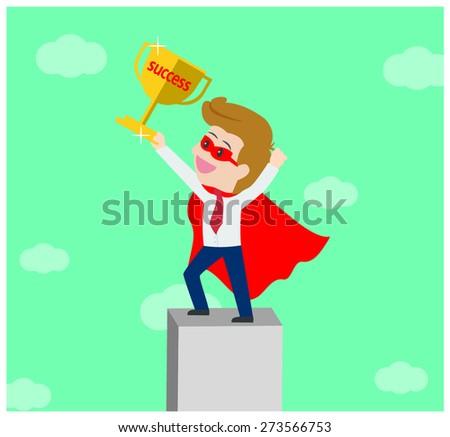 Superhero business man on top of business success - stock vector