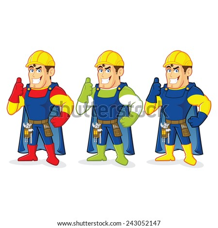 Superhero construction guy - stock vector