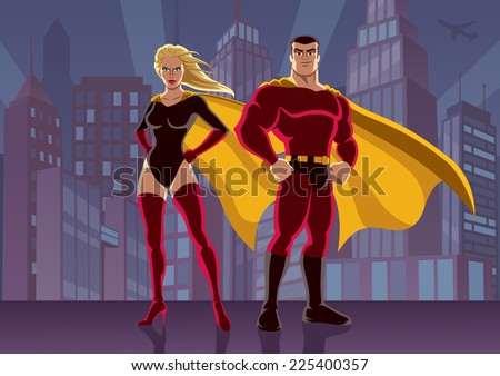 Superhero Couple 2: Male and female superheroes, posing in front of cityscape. No transparency used. Basic (linear) gradients used for the background. A4 proportions.  - stock vector