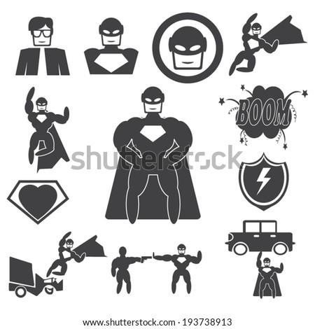 Superhero Hero icon set - stock vector