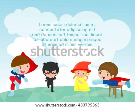 superhero kids at playground, superhero kids playing outside, Template for advertising brochure,your text ,Cute little Superhero Children's, Kids and frame,child and frame,Vector Illustration, kids  - stock vector