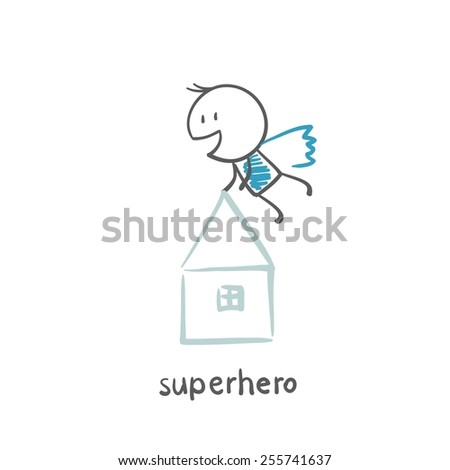 Superhero lifts house illustration - stock vector